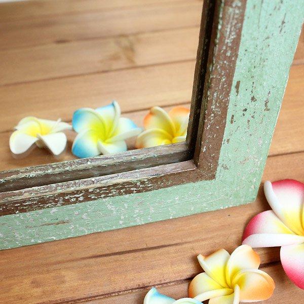 【ハワイアン雑貨】ウッドアンティーク風ミラー/グリーン、ホワイト