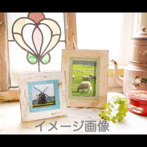 【ハワイアン雑貨】アンティーク風ウッドフォトフレーム/ホワイト