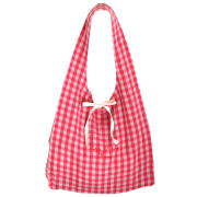 お買い物バッグ ・オリジナル染めギンガム:いちご【刺繍レッド】