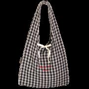 お買い物バッグ ・オリジナル染めギンガム:木いちご【刺繍レッド】