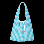お買い物バッグ ・オリジナル染めギンガム:ラムネ【刺繍レッド】