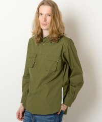 rehacer / Pucker Zip Shirt<サイドジップミリタリーシャツ> #カーキ