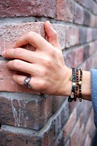 NARRATIVE PLATOON [ナラティブプラトゥーン] Wall Slim Bracelet<ストーンビーズブレスレット> マットブラック