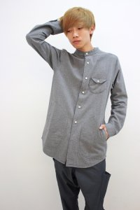 rehacer [レアセル] Disk Pocket Bomp Long Shirt<ディスクポケットバンドカラーロングシャツ> #グレー