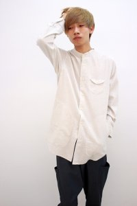rehacer [レアセル] Disk Pocket Bomp Long Shirt<ディスクポケットバンドカラーロングシャツ> #ホワイト