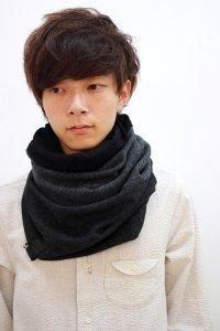 PATRICK STEPHAN [パトリックステファン] Jersey scarf 'fuji' 16AW-A/162ASF19<リバーシブルスヌードマフラー(ネックウォーマー)> #チャコールグレー
