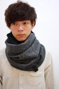 PATRICK STEPHAN [パトリックステファン] Jersey scarf 'fuji' 16AW-A/162ASF19<リバーシブルスヌードマフラー(ネックウォーマー)> #グレー