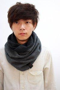 PATRICK STEPHAN [パトリックステファン] Jersey scarf 'fuji' 16AW-B/162ASF20<リバーシブルスヌードマフラー(ネックウォーマー)> #グレー
