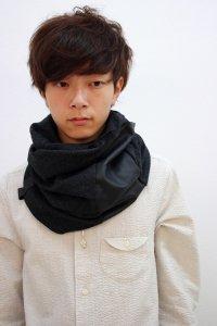 PATRICK STEPHAN [パトリックステファン] Jersey×Leather scarf 'fuji' 162ASF21<リバーシブルスヌードマフラー(ネックウォーマー)> #チャコール