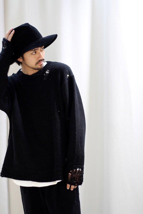 victim ヴィクティム damege knit ダメージニット ブラック