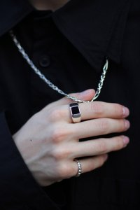 dip [ディップ] square onyx ring<スクエアオニキスリング(S)> #シルバー