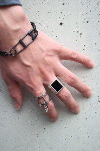 dip [ディップ] square onyx ring<スクエアオニキスリング(M)> #シルバー