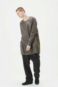 【2017AW先行予約】Wizzard [ウィザード] CREW NECK LONG SHIRT<シルクコットン クルーネックロングシャツ> 3色展開