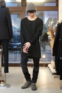 Wizzard [ウィザード] CREW NECK LONG SHIRT<シルクコットン クルーネックロングシャツ> ブラック