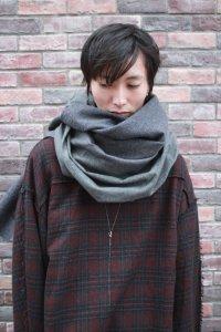 PATRICK STEPHAN [パトリックステファン] Jersey scarf 'wrap' 17aw<ビッグストール(ビッグマフラー)> グレー