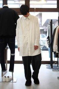 JieDa [ジエダ] LONG SHIRT <ロングシャツ> ストライプ(ホワイト×ブラック)