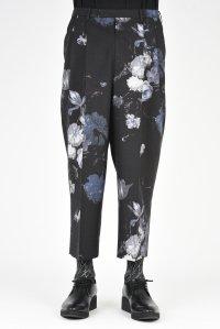 LAD MUSICIAN [ラッドミュージシャン] GABARDINE FLOWER WIDE CROPPED PANTS <花柄 フラワークロップドパンツ> 2218-212 ブルー