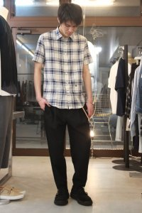 N.HOOLYWOOD [エヌハリウッド] COMPILE LINE SHORT SLEEVE CHECK SHIRT <コンパイルライン ショートスリーブチェックシャツ> ブルー