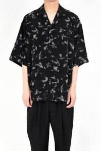 LAD MUSICIAN [ラッドミュージシャン] DECHINE FEATHER OPEN COLLAR BIG SHIRT <デシンフェザーオープンカラービッグシャツ> グレー