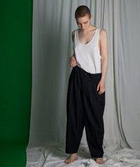 my beautiful landlet [マイビューティフルランドレット] wool twill back warp pants <ウールツイルバックラップパンツ> ネイビー