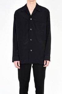LAD MUSICIAN [ラッドミュージシャン] DECHINE OPEN COLLAR SHIRT <デシン オープンカラーシャツ> 2218-116 ブラック