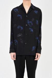 LAD MUSICIAN [ラッドミュージシャン] DECHINE FLOWER OPEN COLLAR SHIRT <デシンフラワーオープンカラーシャツ> ブルー×ブラック