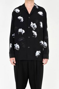 LAD MUSICIAN [ラッドミュージシャン] DECHINE FLOWER OPEN COLLAR SHIRT <デシンフラワーオープンカラーシャツ> ホワイト×ブラック