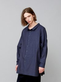 TROVE [トローヴ] UNI WIDE CHECK SHIRT <オーバーダイチェックシャツコート> 2018AW 53SHT02 ネイビー×ブルー