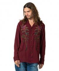 glamb [グラム] Score branch SH <ボタニカルオープンカラーシャツ> ワインレッド