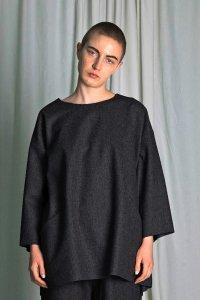 my beautiful landlet [マイビューティフルランドレット] wool flannel sweater <ウールフランネルセーター> チャコール