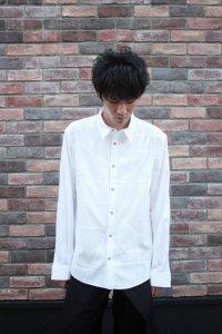 【ラスト1点】ANREALAGE [アンリアレイジ] PANEL PATCHWORK SHIRT <パネルパッチワークシャツ> ホワイト