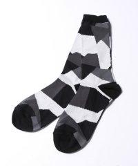 ANREALAGE [アンリアレイジ] patchwork socks <パッチワークソックス> ブラック×ホワイト