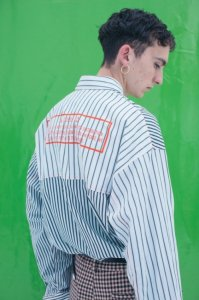 JieDa [ジエダ] CRAZY SWITCHING STRIPE LONG SHIRT <クレイジースイッチングストライプロングシャツ(2019SS)> ホワイト×ブラック