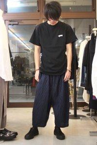 my beautiful landlet [マイビューティフルランドレット] stripe linen wide easy pants<ストライプワイドパンツ> ネイビーストライプ