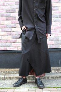 sulvam [サルバム] LAYERED SKIRT PANTS <レイヤードスカートパンツ> 2019AW SK-P03-100 ブラック×ブラウン