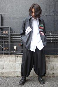 Ground Y Yohji Yamamoto [グラウンドワイ ヨウジヤマモト] nylon taffeta Patch Embroidery jacket ブラック