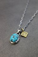Atease / TURQUOISE NAVAJO NECKLACE # SILVER