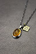 Atease / AMBER NAVAJO NECKLACE # SILVER
