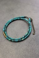 Atease / TURQUOISE CUT BEADS NECKLACE (BRACELET) # BRASS