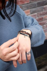 NARRATIVE PLATOON / Flat Road Bracelet<フラットロードブレスレット> # Black