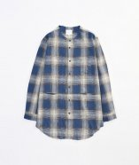 VICTIM / NO COLLAR CHECK SHIRTS<ノーカラーチェックシャツ> # ブルー