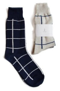 【2015SS先行予約】 Wizzard / WINDOW PANE CHECK SOCKS<ウインドペンチェックソックス> # ネイビー