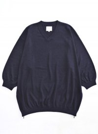 VICTIM / 7 SLEEVE V-NECK LOOSE KNIT<7分袖Vネックルーズニット> # ネイビー