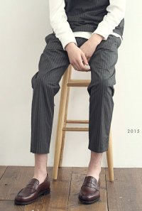 VICTIM / STRIPE ANKLE EASY SLACKS<ストライプ アンクル イージー スラックス> # グレー