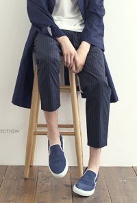 VICTIM / STRIPE ANKLE EASY SLACKS<ストライプ アンクル イージー スラックス> # ネイビー