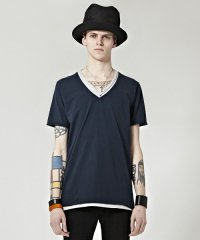 Wizzard / COLOR LEYERED V-NECK TEE<カラーレイヤードVネックTシャツ> # ネイビー