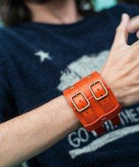 glamb / Ritchie bracelet(Wide)<レザーブレスレット(ワイド)> #オレンジ/ブラウン/ブラック