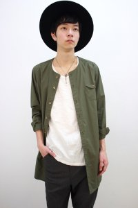 rehacer[レアセル] Disk Pocket Long Shirt<ディスクポケットロングシャツ> #カーキ