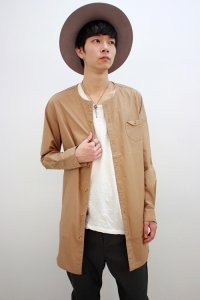 rehacer[レアセル] Disk Pocket Long Shirt<ディスクポケットロングシャツ> #ベージュ