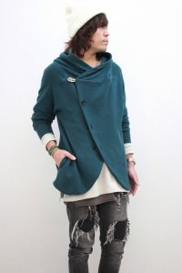 rehacer / Slack Fooded Cardigan<スラックフードカーディガン> #グリーン
